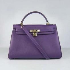 Hermes Kelly 32cm Togo leather handbag 6108 purple golde