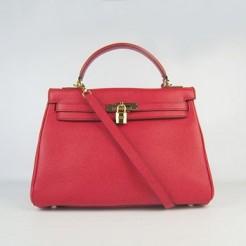 Hermes Kelly 32cm Togo Leather handbag red/golden