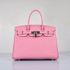 Hermes Birkin 30cm Togo Leather Handbags Cherry Pink Silver