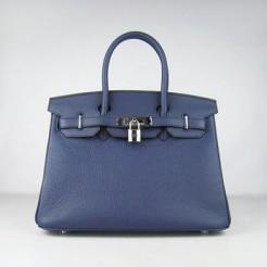 Hermes Birkin 30cm Togo leather Handbags dark blue silver
