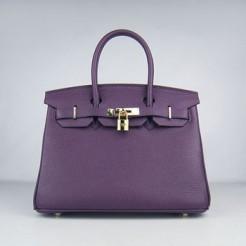 Hermes Birkin 30cm Togo leather Handbags purple gold