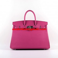 Hermes Birkin 30cm Togo Leather Handbags Rose Silver