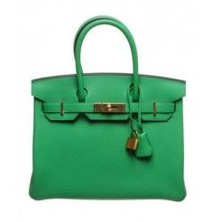 Hermes Birkin 30cm Togo Leather Green Gold