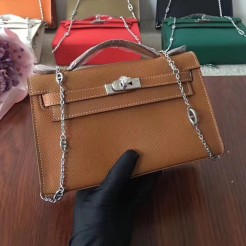 Hermes Mini Kelly 22cm Epsom Leather Camel Silver With Chain Strap