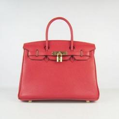Hermes Birkin 30cm Togo leather Handbags red gold