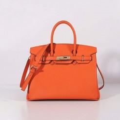 Hermes 30cm Birkin Bag Togo Leather with Strap Orange Gold