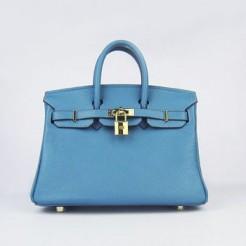Hermes Birkin 25cm Handbag 6068 Blue golden