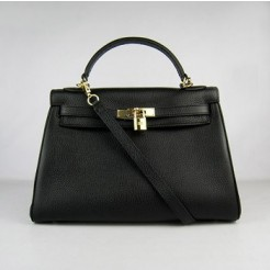 Hermes Kelly 32cm Togo leather handbag 6108 black gold