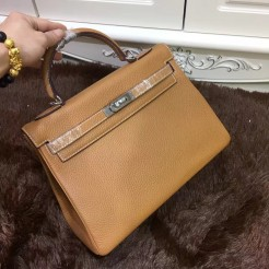 Hermes Kelly 32cm Togo leather 6108 light coffee silver