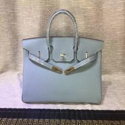 Hermes Birkin 30cm Togo leather Handbags Blue Lin Gold
