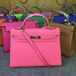 Hermes Kelly 28cm Epsom Leather Handbag Lips Pink