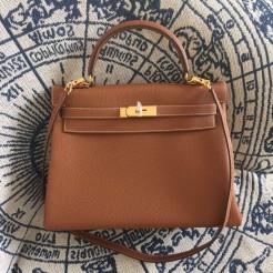 Hermes Kelly 28cm Bag Togo Leather Brown Gold