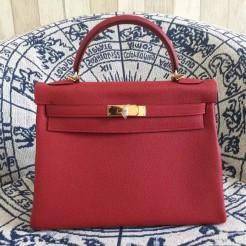 Hermes Kelly 28cm Bag Togo Leather Red Gold