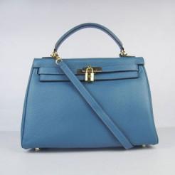 Hermes Kelly 32cm Togo Leather handbag blue/golden
