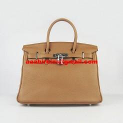 Hermes Birkin 30cm Togo Leather Handbags Light Coffee Silver