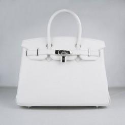 Hermes Birkin 30cm Togo leather Handbags white silver