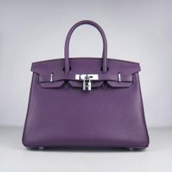 Hermes Birkin 30cm Togo leather Handbags purple silver