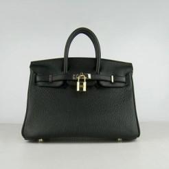 Hermes Birkin 25cm Handbag 6068 black golden