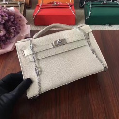 Hermes Mini Kelly 22cm Epsom Leather White Silver With Chain Strap