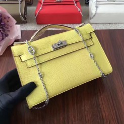Hermes Mini Kelly 22cm Epsom Leather Yellow Silver With Chain Strap