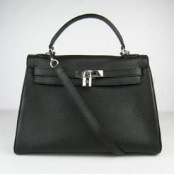 Hermes Kelly 32cm Togo leather handbag 6108 black silver