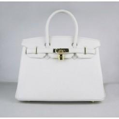 Hermes Birkin 30cm Togo leather Handbags white golden