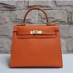 Hermes Kelly 28cm Epsom Leather Handbag Orange Gold