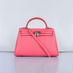 Hermes Kelly 32cm Togo Leather Handbag 6108 Lip Pink Silver