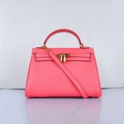 Hermes Kelly 32cm Togo Leather Handbag 6108 Lip Pink Golden